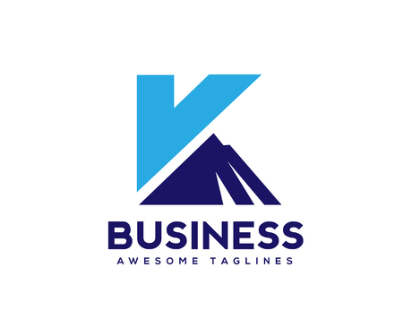 Creative and simple letter K with mountain logo blue Ilustrace