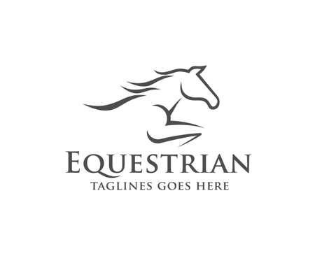 Pferderennen Logo Vorlage. Vektor-Rennfahrer oder Aufzucht-Mustang und laufender Hengstkopf für Pferdesportrennen, Reiterlogovektor