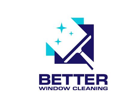 professioneller Fensterreinigungswaschdienst und Haushaltswartungsvektorlogodesign