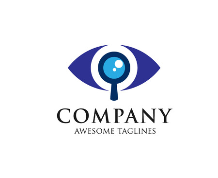 Eyes with a magnifying glass. Logo. Search, analysis, study, ophthalmology logo concept Illustration