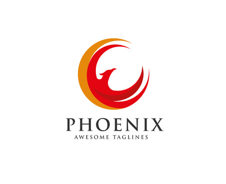 phoenix circle logo vector, circle eagle head vector icon logo template Ilustrace