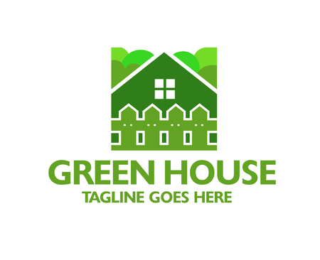 creative green house and fence logo vector Stock Illustratie