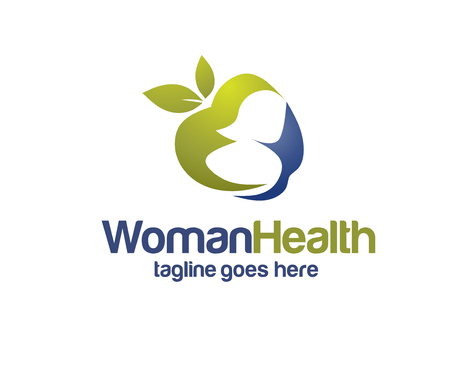 apple with woman silhouette for health and diet logo vector