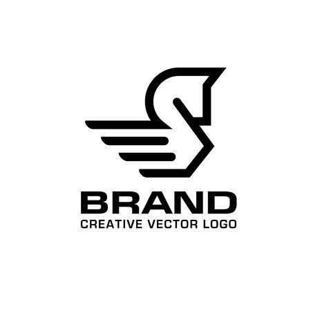 linear Pegasus logo vector. Stylized winged horse logo vector illustration.