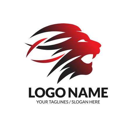 best Lion head logo vector concept illustration. Lion head roaring graphic illustration.