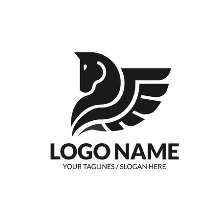 Ilustracja wektorowa logo skrzydlaty Pegaz. Stylizowana sylwetka mitycznego stworzenia Pegaza, wektor logo skrzydlaty koń Logo