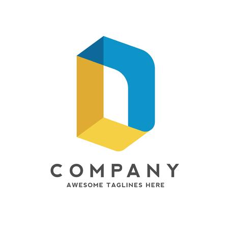kreatywny projekt logo w kolorowym stylu izometrycznym litery d, kolorowy kreatywny wektor litery D