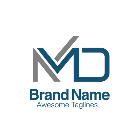 creative initial letter MD logo vector concept element