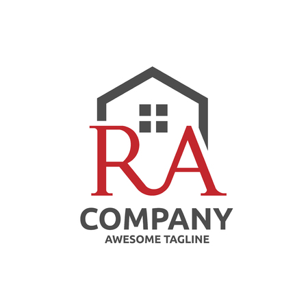 strong modern letter R and A with roofing style. real estate logo concept