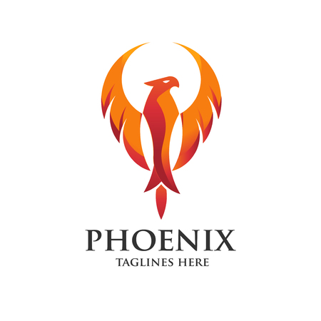 luxury phoenix logo concept, best phoenix bird logo design, phoenix vector logo, creative logo of mythological bird
