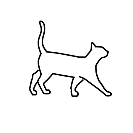 simple outline illustration cat vector, cat outline for learning drawing
