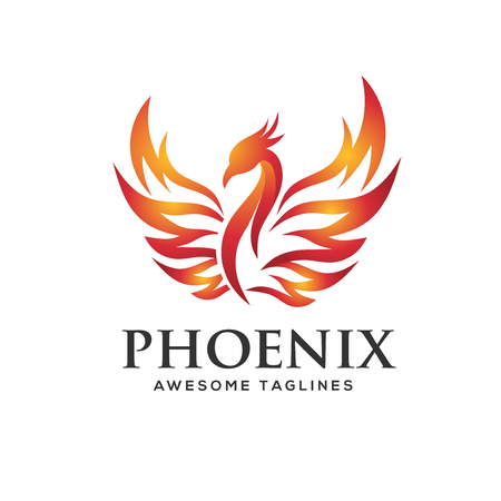 luxury phoenix logo concept, best phoenix bird logo design, phoenix vector logo,creative logo of mythological bird
