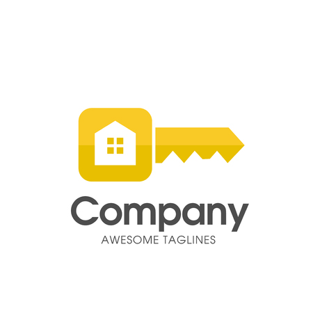 creative circle key of real estate logo with modern gold color vector,  key and real estate logo combination