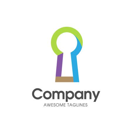 creative simple keyhole colorful on white background logo vector. keyhole illustration for logo
