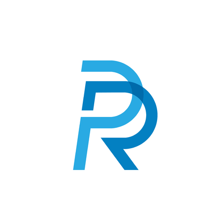 creative Initial letter PR or RP logo template colored blue design for business and company identity