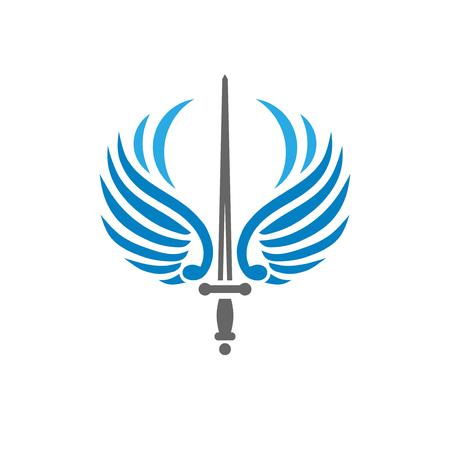 épée créative avec des ailes d'oiseau, concept de vecteur de logo de métaphore de bataille et de sécurité