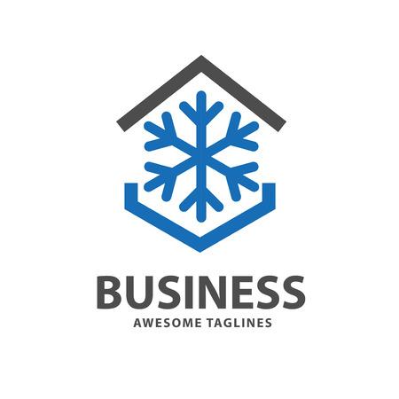 logotipo de la casa fresca con copo de nieve y símbolo de techo