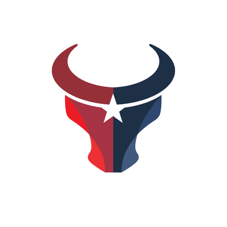 creative simple Bull head color with star vector logo concept illustration 向量圖像