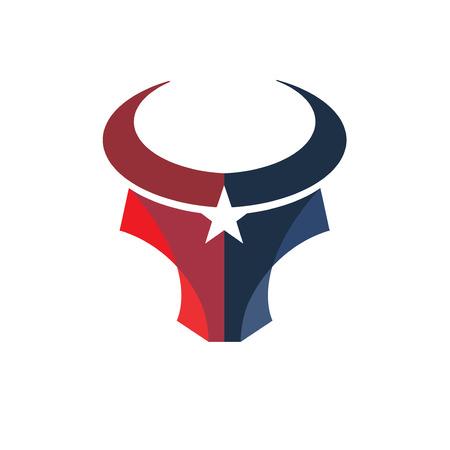 creative simple Bull head color with star vector logo concept illustration Illustration