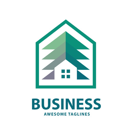 creative and simple pine house logo, home and pine trees logo for property or housing business