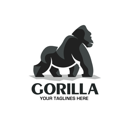 creative and strong Gorilla logo vector isolated on white background Illustration