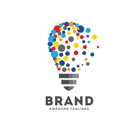 Vector light bulbs with particle dots logo concept. innovation idea technology logo vector Illustration