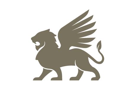 ilustracja wektorowa logo kreatywnego skrzydła lwa, elementy starożytnych emblematów skrzydlatego lwa Logo