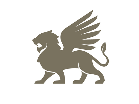 creative lion wing logo vector illustration, Winged Lion ancient emblems elements