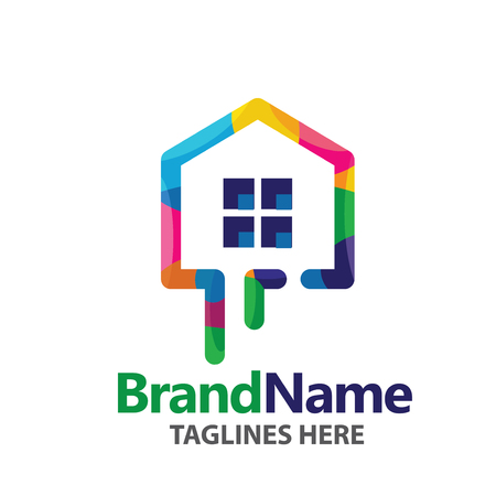 House painting service decor and repair  logo,home decoration building house construction and staining logo concept