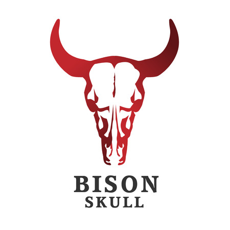 kreatywne logo czaszki żubra. Ilustracja wektorowa czaszki bawolej Logo