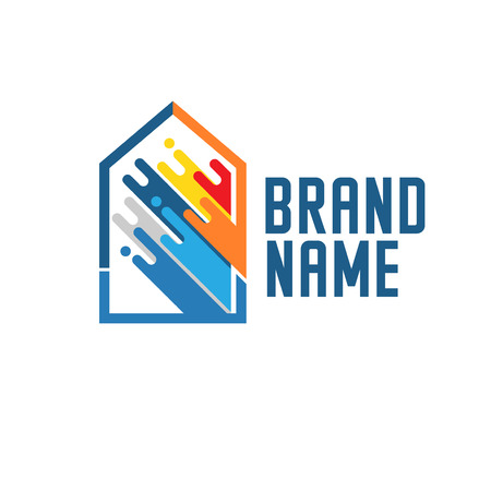paint house logo Concept for home decoration building house construction and staining.