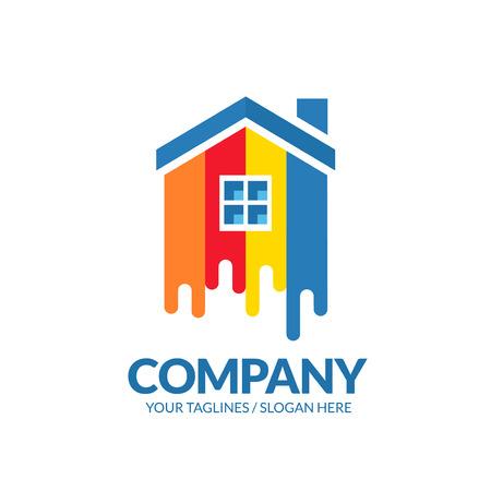 logo de la maison de peinture Concept pour la décoration de la maison, la construction et la coloration de la maison. Logo