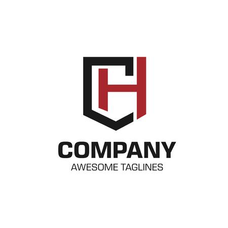 creative initial letter CH as shield logo vector concept Illusztráció