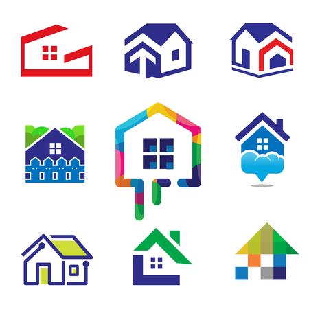 décoration de la maison bâtiment construction de maison et concept de logo de technologie Logo