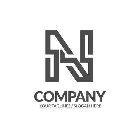 initial letter N geometric strong monogram logo vector illustration isolated on white background