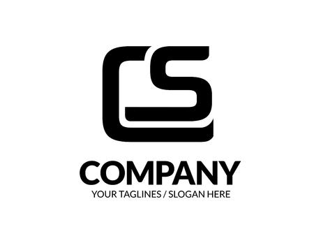 initial letter CS geometric strong logo vector illustration isolated on white background Ilustração