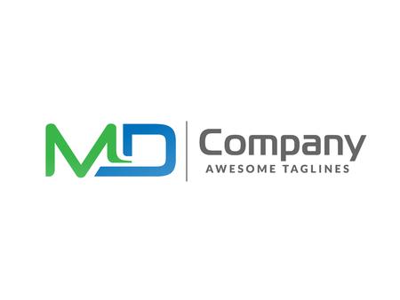 initial letter MD geometric strong monogram logo vector illustration isolated on white background Illustration