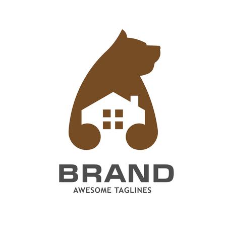 creative bear house logo vector