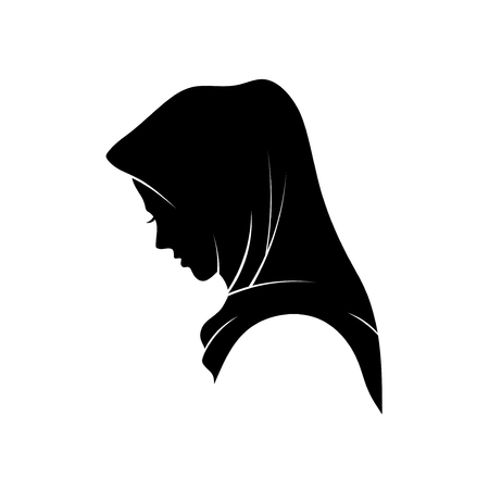 beautiful Muslim woman in hijab fashion silhouette vector