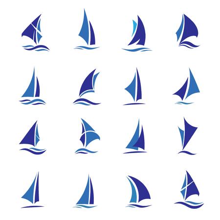 elegancki zestaw wektor logo łodzi żaglowej, koncepcja wektor sportu łodzi żaglowej Logo