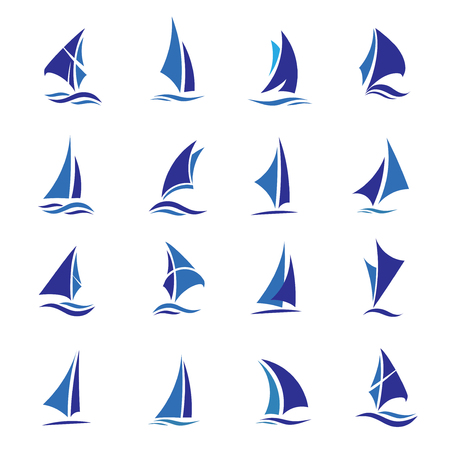 eleganter Satz Segelboot-Logo-Vektor, Segelboot-Sport-Vektor-Konzept Logo