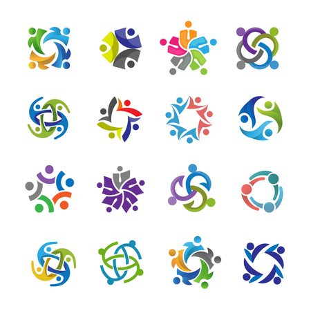 Human character for colorful community logo set. Abstract man figure logo. People logo. friendship icon. People icon. teamwork icon. Stock Vector - 123252504