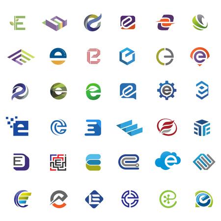 Elegante letra e logo vector set, el mejor concepto moderno y elegante letra E logo, letra E logo