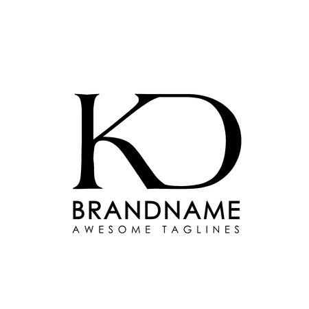creative simple initial letters KD logo monogram style