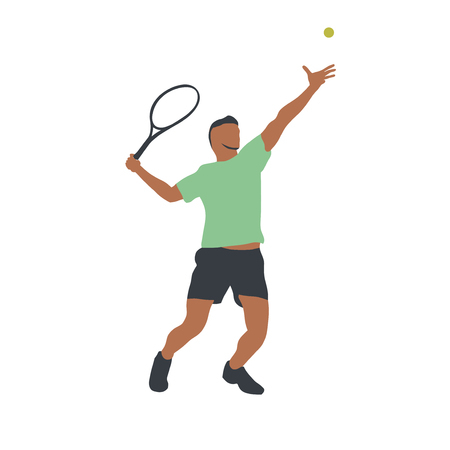 Tennis player isolated vector drawing, abstract silhouette. Forehand. Individual sport, active people