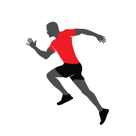 abstrakte Laufmann-Silhouette für Turnier, Wettbewerb, Marathon und Unternehmen für einen gesunden Lebensstil Vektorgrafik