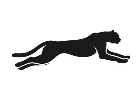 Running Cheetah silhouette monochrome color. Symbol of vitality. Creative design. Vector illustration