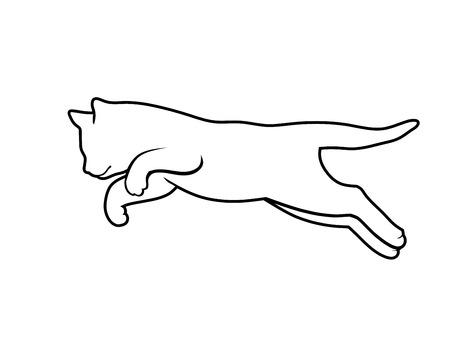 Kätzchen springen Linienskizze in schwarz-weißer Farbe Vektor-Illustration