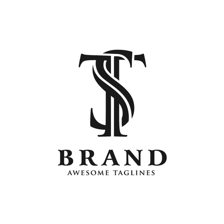 creative initial ST letter with monochrome color style logo vector Logó