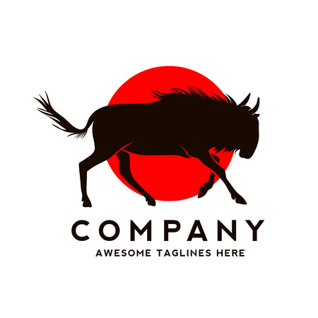 Silhouette of a running wildebeest with circle color background hand drawn vector illustration